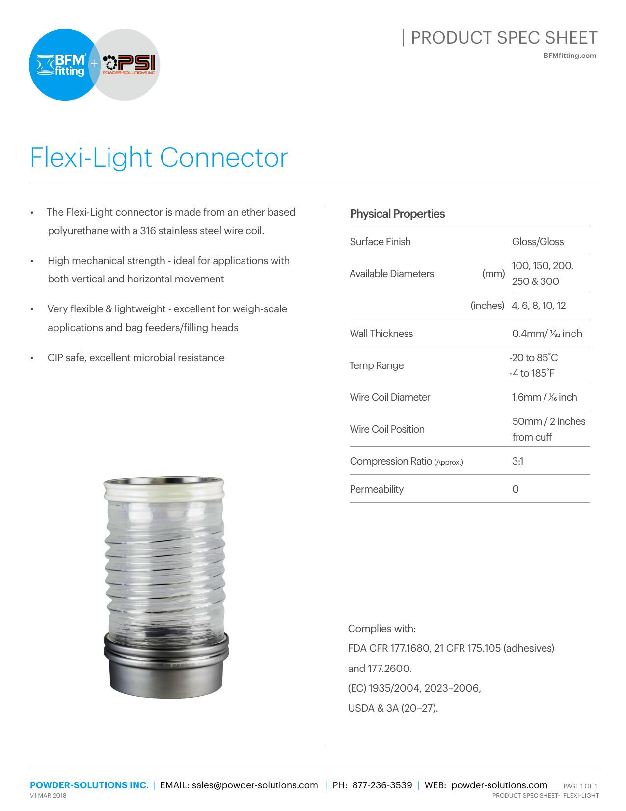 PSI BFM Spec Sheet - Flexi Light Connector V1 Mar 2018