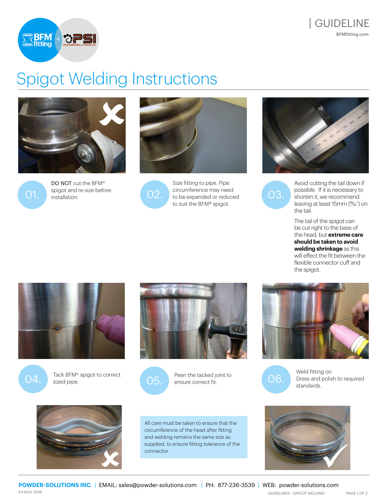 PSI BFM Guidelines - Spigot Welding Instructions