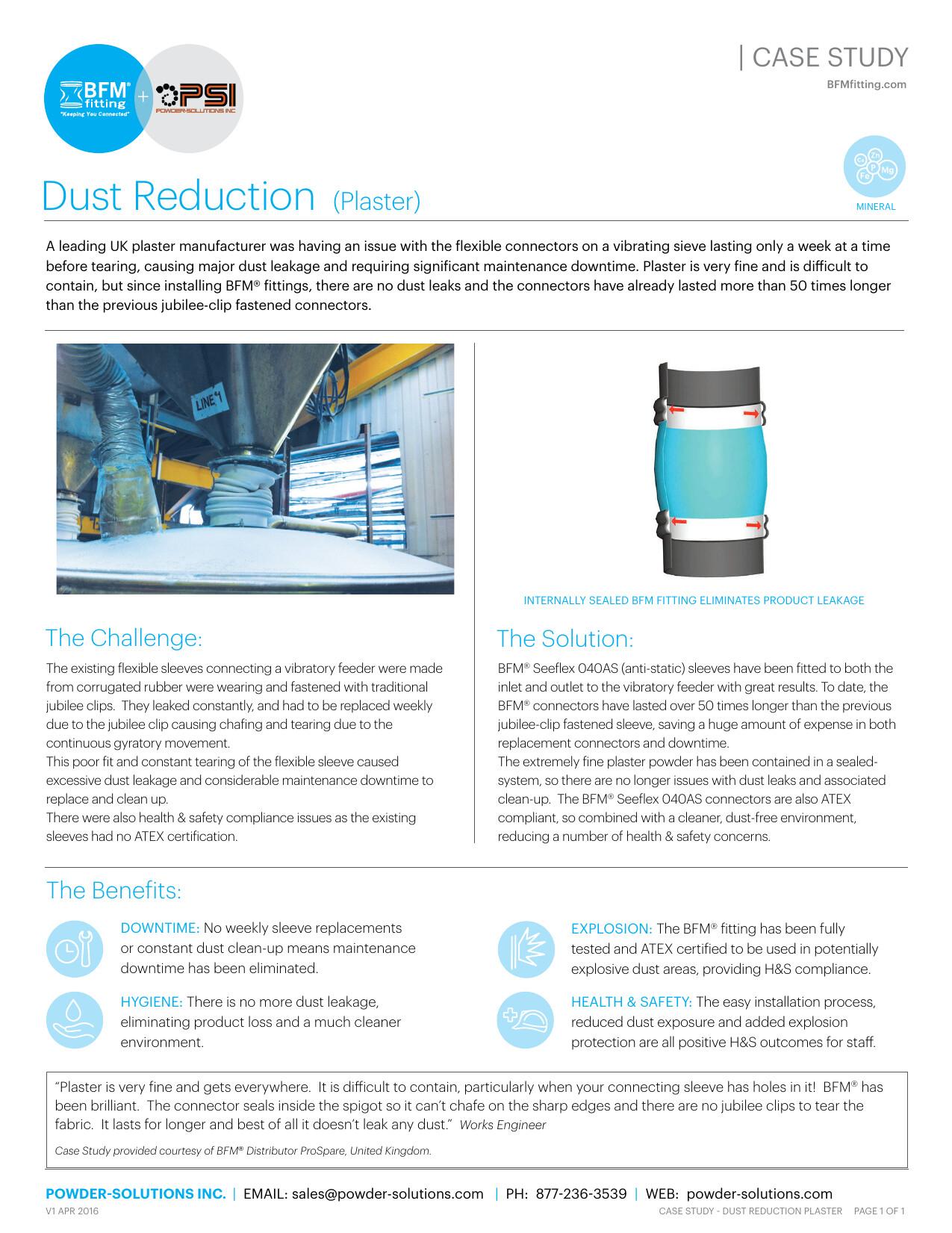 PSI BFM Case Study Dust Reduction (Plaster) V1 Apr 2016 MINERAL