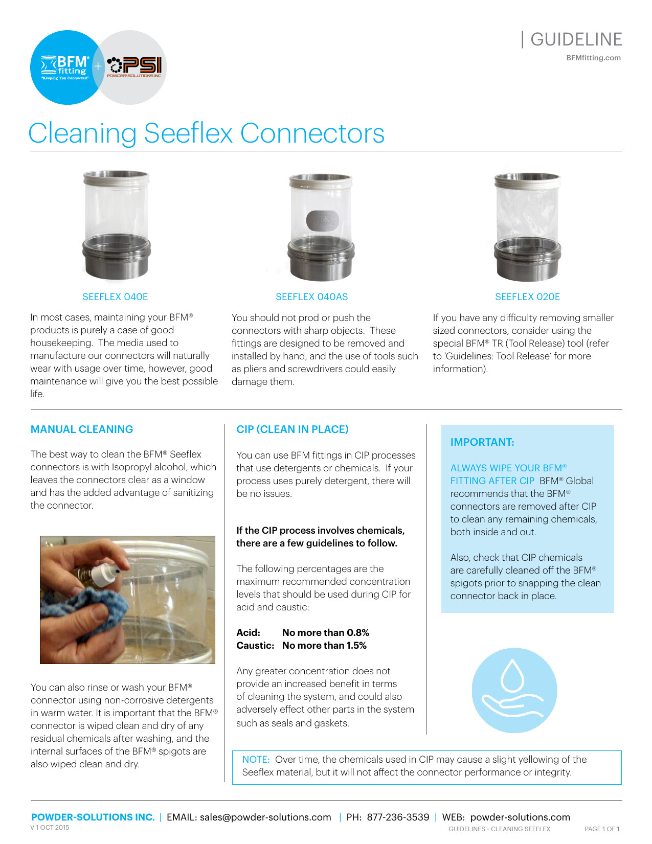 PSI BFM Guidelines - Cleaning Seeflex Connectors V1 Oct 2015
