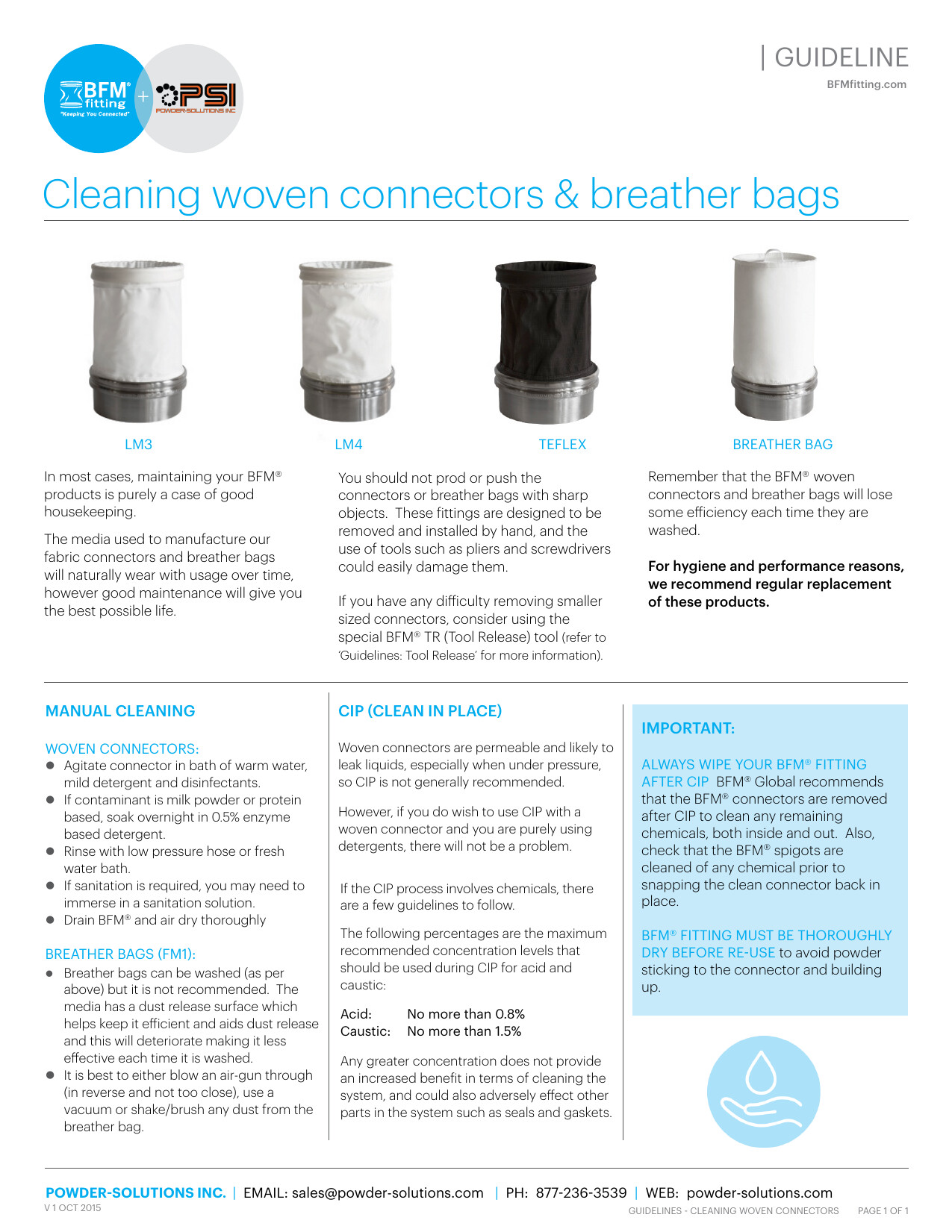PSI BFM Guidelines - Cleaning Woven Connectors & Breather Bags V1 Oct 2015