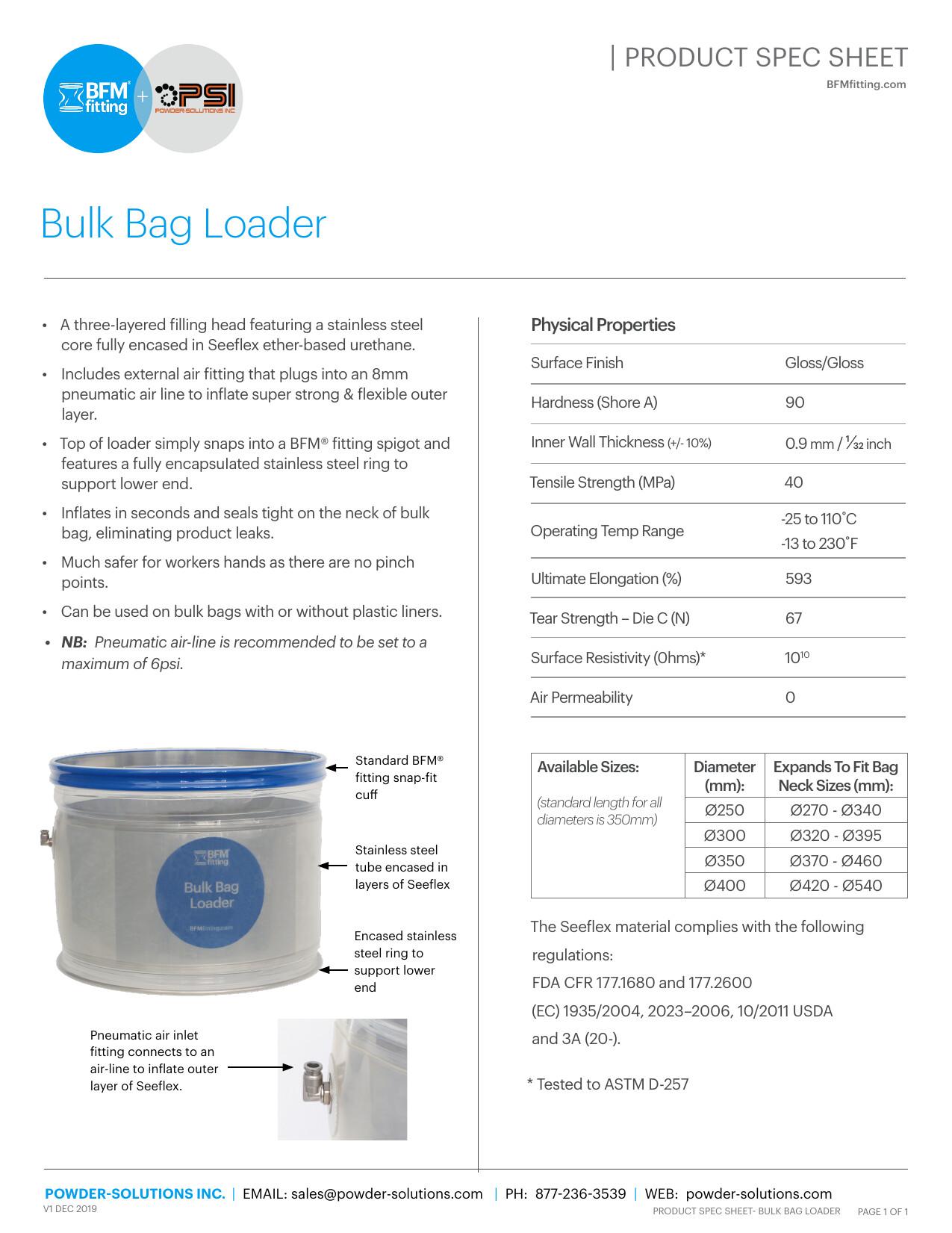 PSI BFM Limitations - Product Spec Sheet - Bulk Bag Loader V1 Dec 2019 USA SIZE