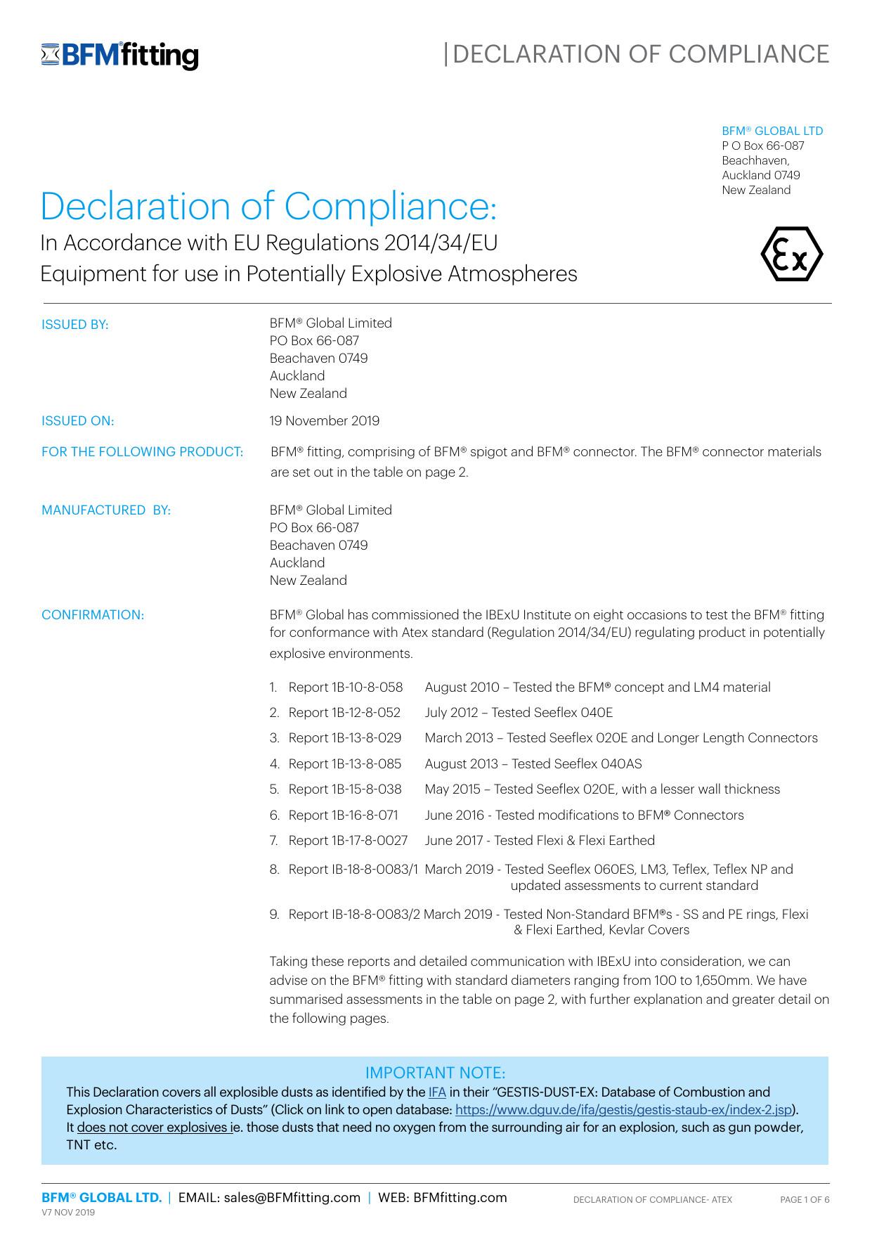 ATEX Declaration of Compliance 1574113527